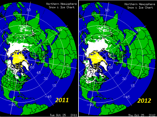 Snow cover comparison between 2011 and 2012