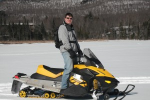 Snowmobiling on Lake Durant