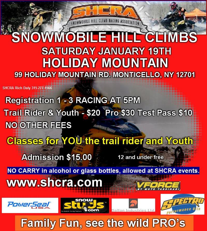 Snowmobile Hill Climbs Saturday January 19th at Holiday Mountain