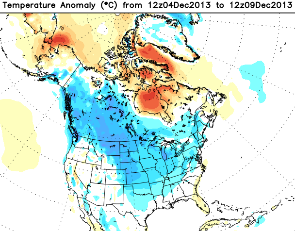 Early December temperature anomaly